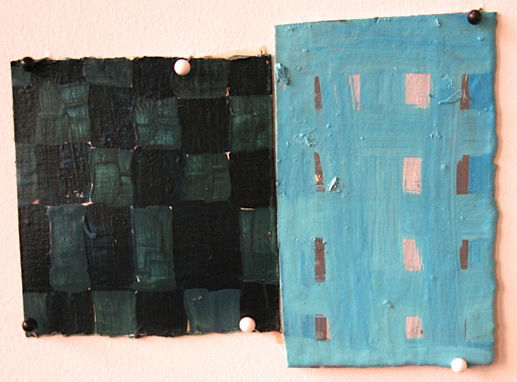 Blue Grids, 2008, oil on paper, 4 x 5.5