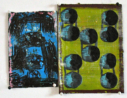 Larger Listeners, 2012, oil on paper, 5.25 x 6.5