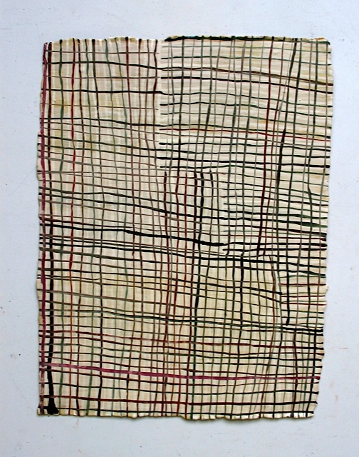 Skinny Grid, 2008, oil on paper, 12 x 9