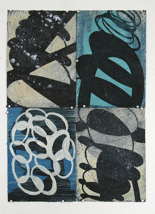 wop2010_12 Quartet in Blue   Black and White 2010 oil on paper 14x10