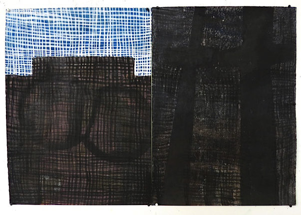 "Same and Divided, 2015, gouache on paper, 13.75"" × 20"""